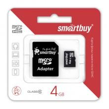 Карта памяти microSDHC 4GB Smart Buy Class 4  (адаптер)