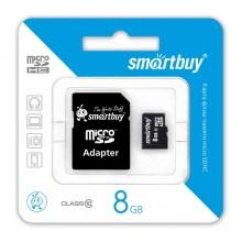 Карта памяти microSDHC 8GB Smart Buy Class 10  (адаптер)