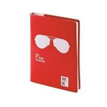 Ежедневник недатированный Crazy, А5, красный, бежевый блок, без обреза, ляссе