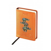 Ежедневник недатированный Rich, А6-, оранжевый, бежевый блок, без обреза, ляссе