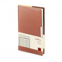 Еженедельник недатированный Metropol, А6, коричневый, бежевый блок, металлический шильд, без обреза